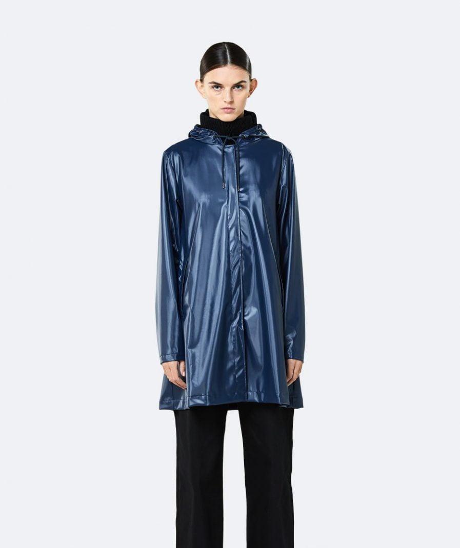 RAINS A-line Jacket Shiny Blue