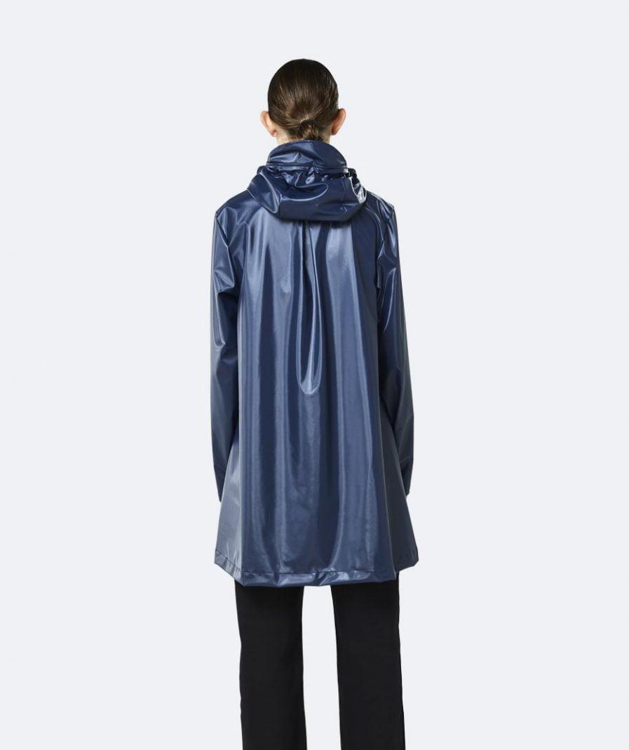 RAINS A line Jacket Shiny Blue