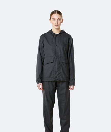 RAINS Short Hooded Coat Black