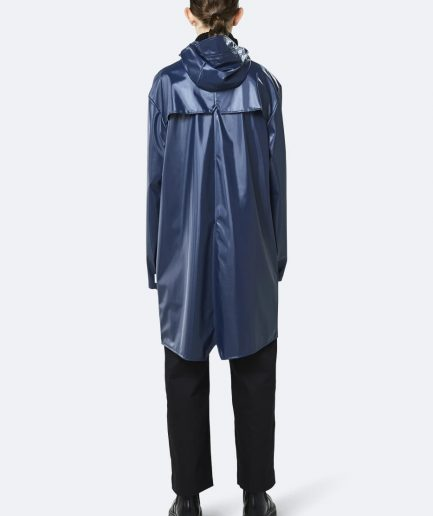 RAINS Long Jacket Shiny Blue