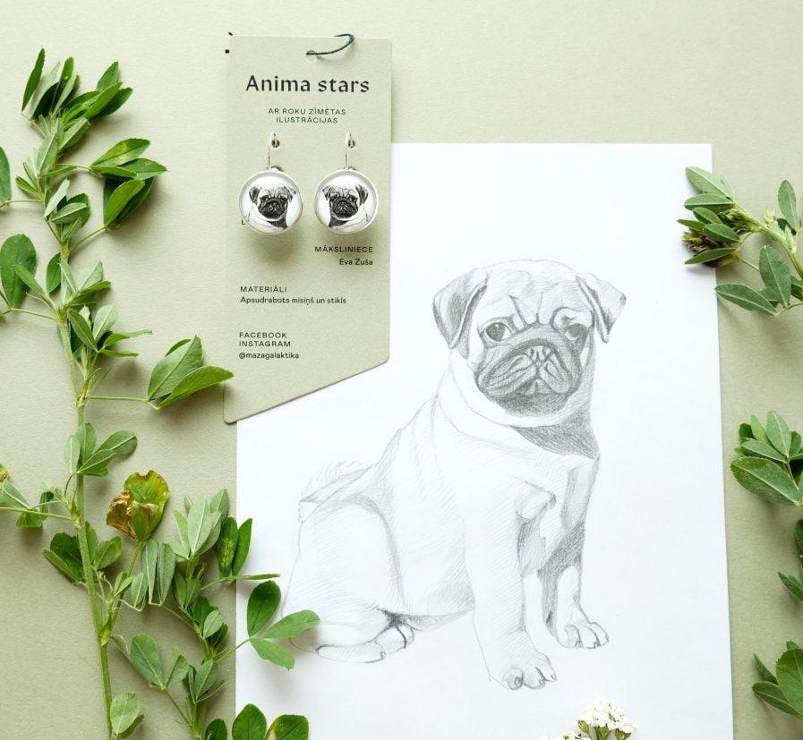 Anima Stars Earrings Pug