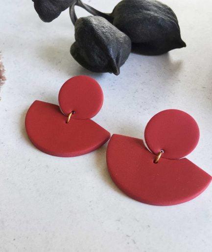 ELĪNA PLŪME Fan Shaped Earrings in Vivid Red