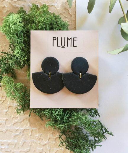 ELĪNA PLŪME Fan Shaped Earrings in Black