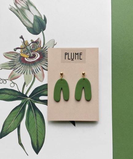 ELĪNA PLŪME Dangle Arch Earrings | Green