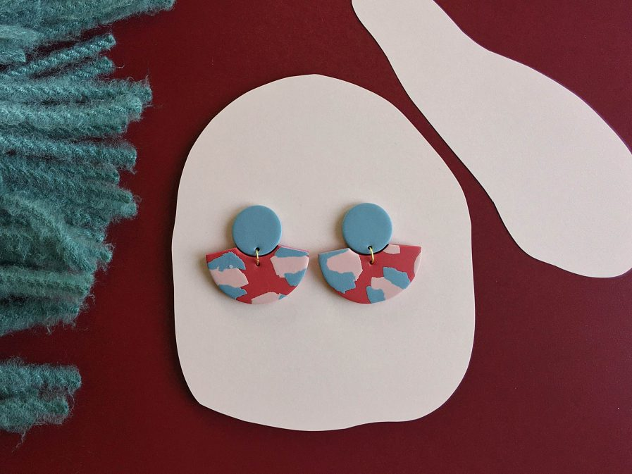 ELĪNA PLŪME Fan Shaped Earrings in Vivid Red and Dusty Powder Pink and Blue