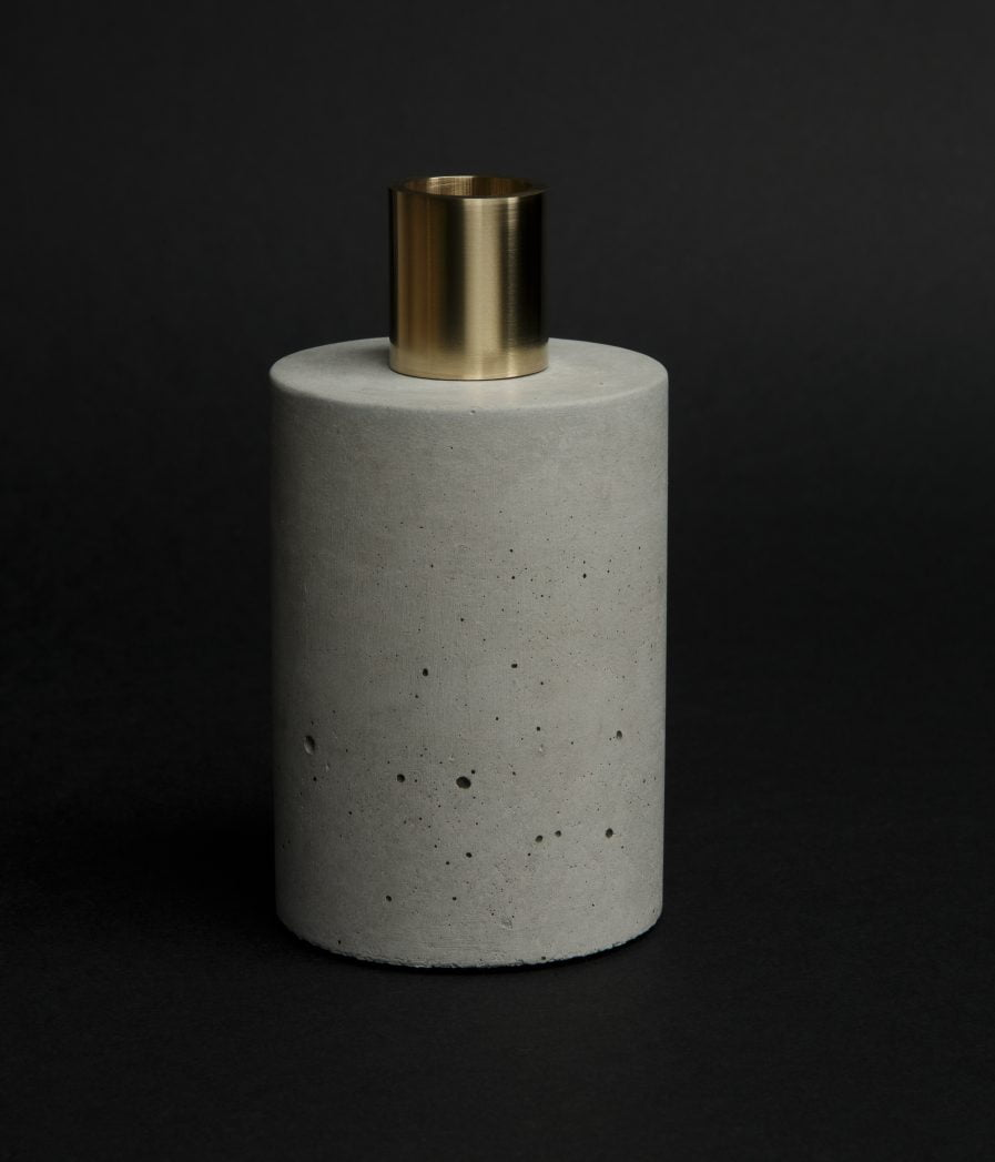 Sensous Candle Holder Cylinder Gray