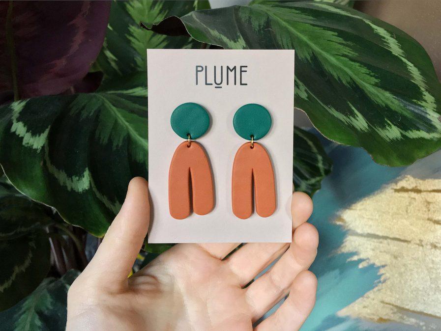 PLUME Dangle Statement Earrings Orange + Green