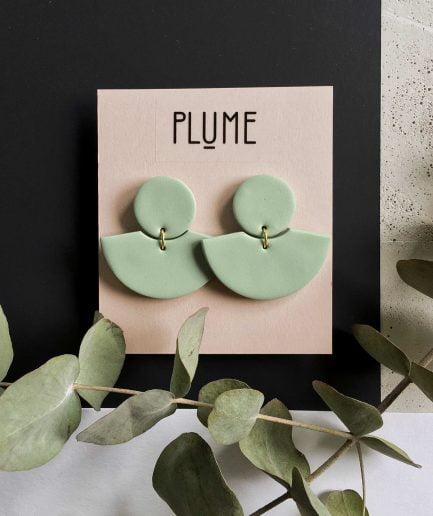 PLUME Fan Shaped Earrings in Light Green