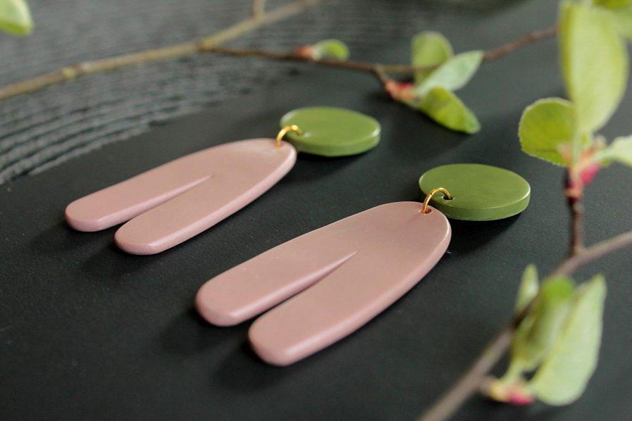 PLUME Dangle Statement Earrings Pink + Green