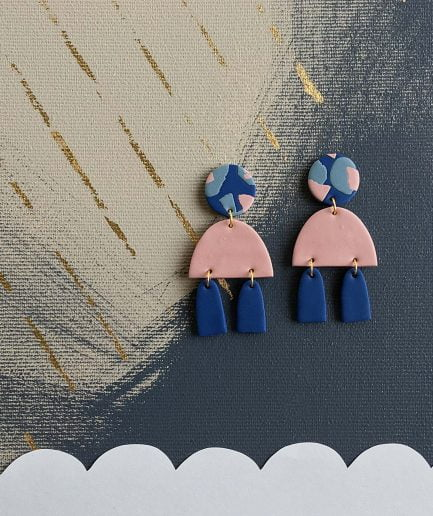 PLUME Statement Earrings Pink + Navy Blue