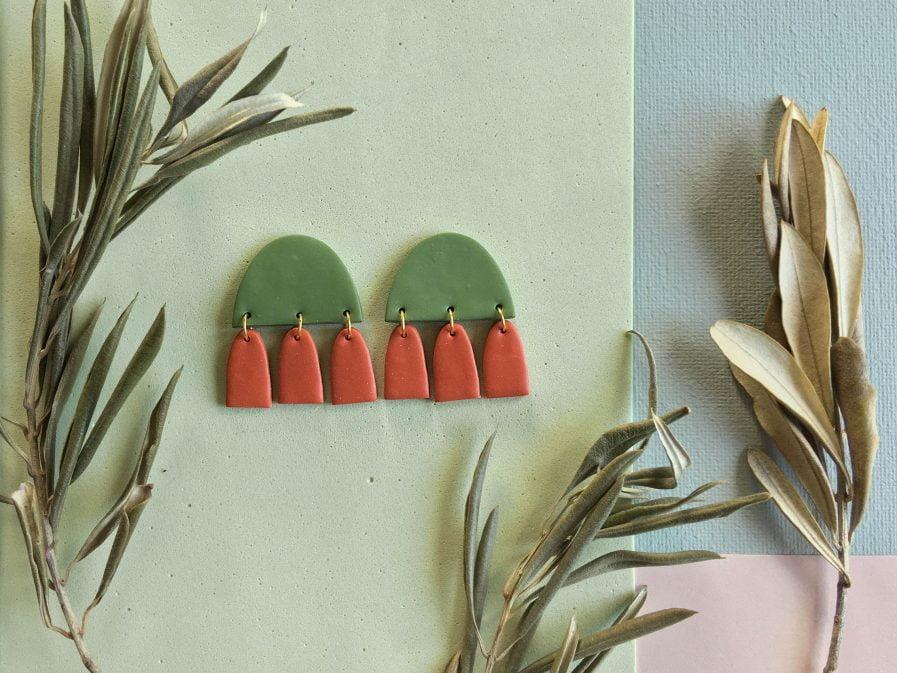 PLUME Stud Earrings With Tassels Pink + Green