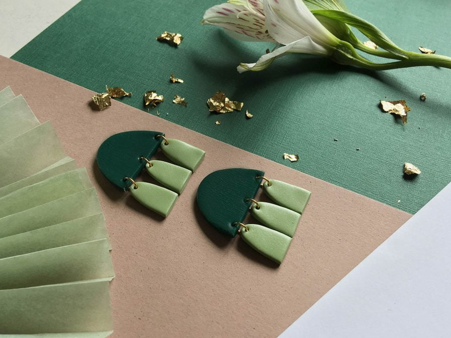 PLUME Stud Earrings With Tassels Emerald + Green