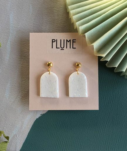 PLUME Small Arch Shaped Polymer Clay Earrings
