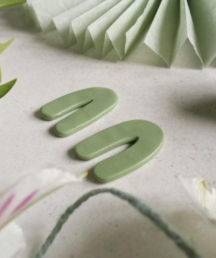 PLUME Matcha Green Curved Arch Shape Stud Earrings