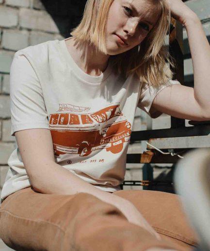Vaira Vīksne Unisex Organic Cotton T-shirt Cabover Van RAF 977 - Vintage white