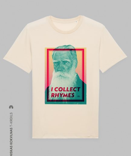 Vaira Vīksne Unisex Organic T-shirt I COLLECT RHYMES, natural raw