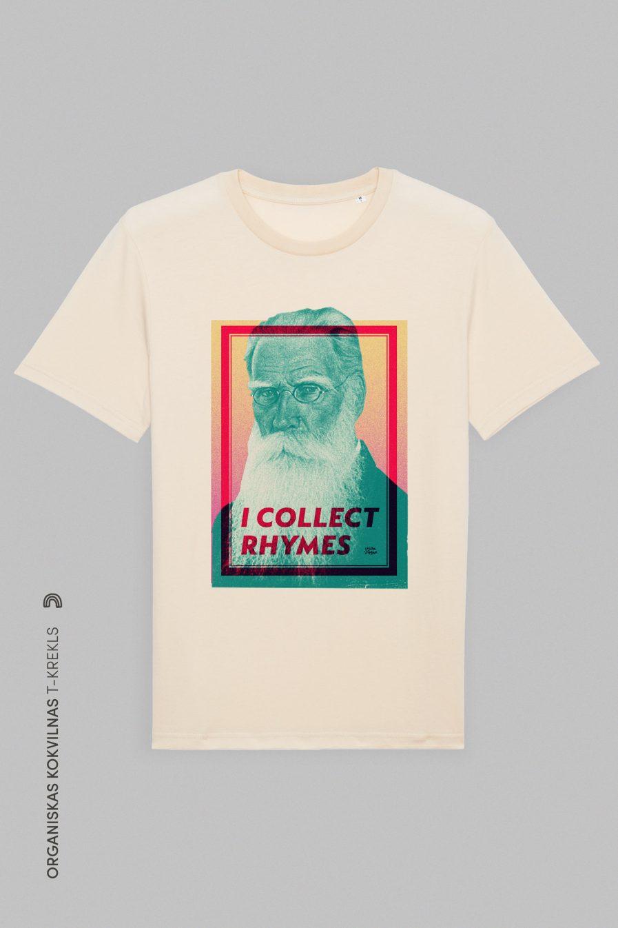 Vaira Vīksne Unisex Organic T-shirt I COLLECT RHYMES, natural raw