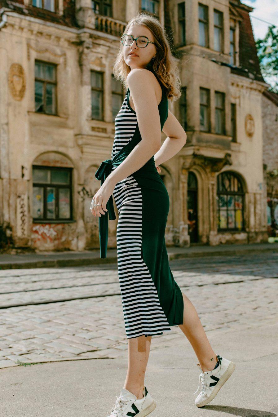 M50 Dress Goddess Reversible Pine Green / Black stripes