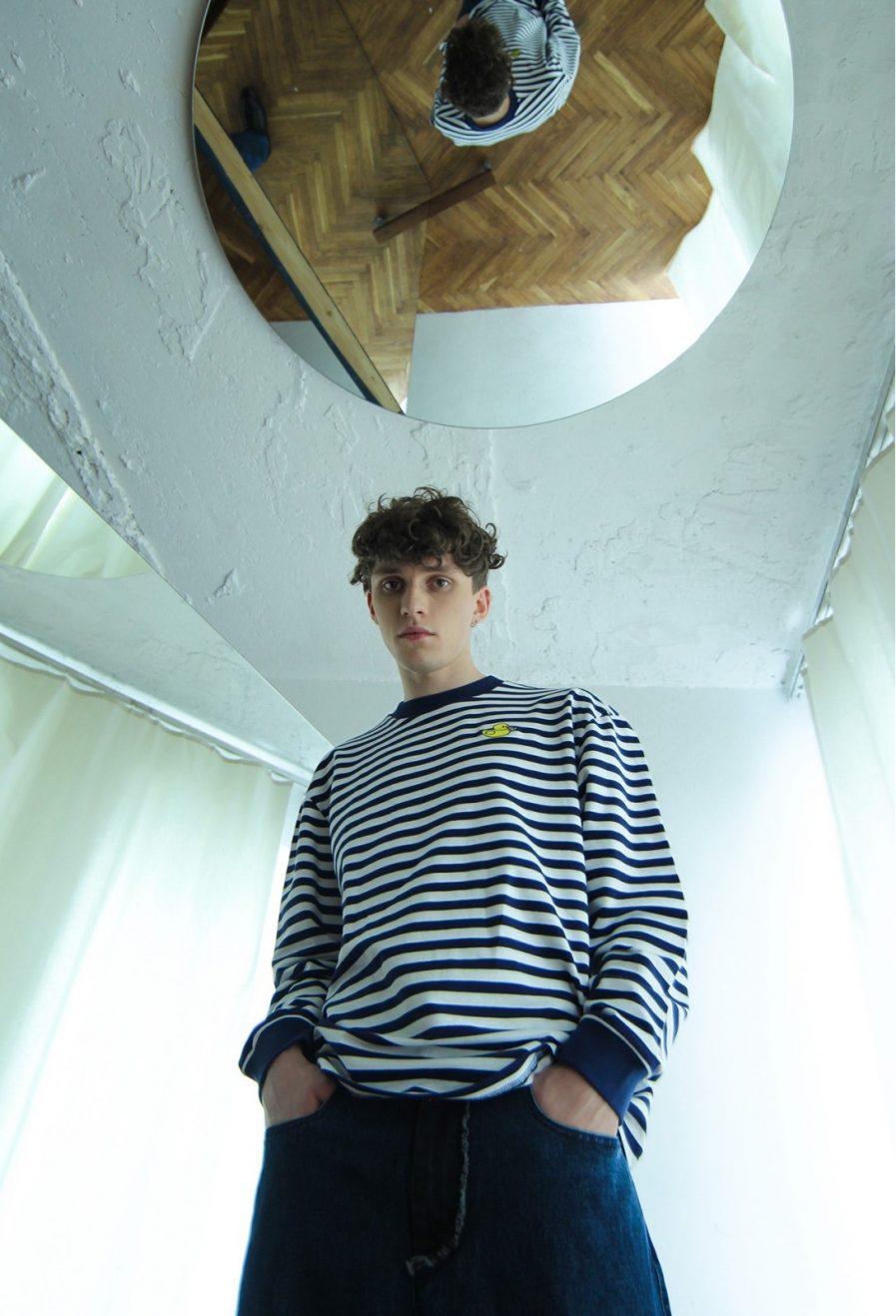 Schastia Zdorovia svītrains džemperis ar Pīli | Tumši zils