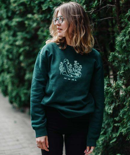 """Krista Miltiņa Unisex Sweatshirt """"Just Dill With It"""" Green"""