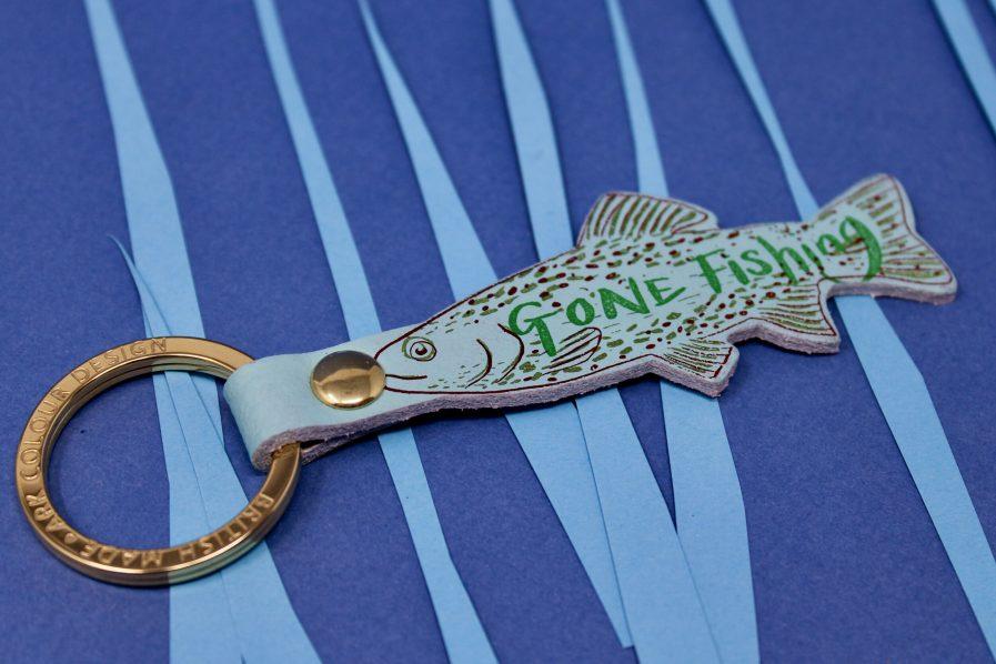 Ark Colour Design GONE FISHING key fob blue