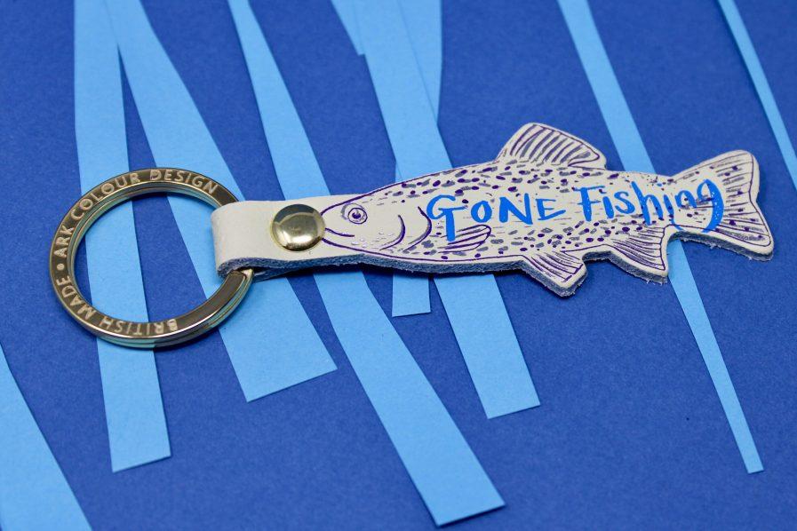 Ark Colour Design GONE FISHING key fob white