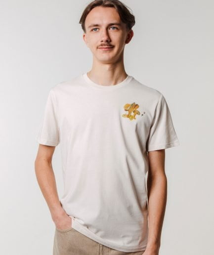 M50 x Zane Veldre Organic cotton Unisex T-shirt GAILENES VINTAGE WHITE