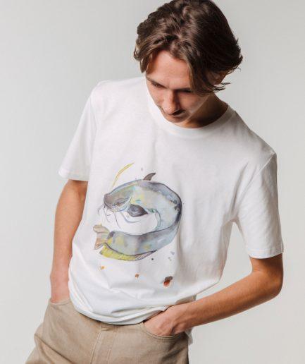 M50 x Zane Veldre Organic cotton Unisex T-shirt CATFISH OFF WHITE